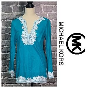 Michael Kors Blue & White Cotton Tunic Sz M
